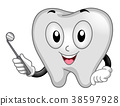 Tooth Mascot Dental Mirror Illustration 38597928