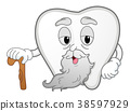 Tooth Mascot Old Cane Illustration 38597929