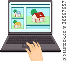 Hand Online Real Estate Laptop Illustration 38597957