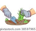 Hands Garden Grass Cleaning Illustration 38597965