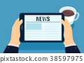 Hands Tablet News Coffee Illustration 38597975