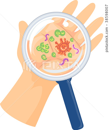 Hand Magnifying Glass Germs Illustration 38598007