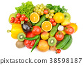 Fruit and vegetables isolated on white background. 38598187