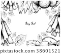 Hand Drawing Frame of Moon Drops and Pione Grapes 38601521