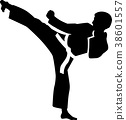 karate kick silhouette 38601557