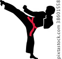 Karate kick with red belt 38601558