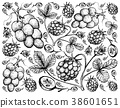 Background Arctic Bramble Berries and Red Grapes 38601651