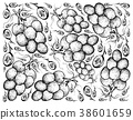 Hand Drawing Background of Fresh Juicy Red Grapes 38601659