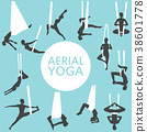 Aerial yoga set with young woman silhouettes 38601778