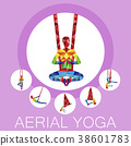 Aerial yoga banner with woman silhouette 38601783
