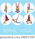 Aerial yoga icons with woman silhouette 38601785