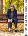 Senior woman having knee pain walking in park 38601988