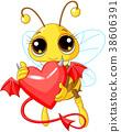Cute Bee Holding Devil Heart 38606391