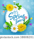 It's spring time banner with round frame and flowe 38608201
