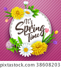 It's spring time banner with round frame and flowe 38608203