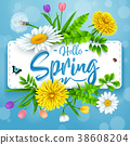 Hello Spring background with beautiful flower and  38608204