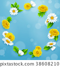 Round frame of flowers on blue sky background 38608210