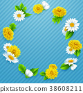 Round frame of flowers on striped blue background 38608211