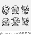 Black tiger icon collection set 38608266