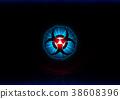 abstract bio hazard symbol with blue light  38608396
