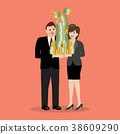 Businessman and woman holding a lot of money 38609290