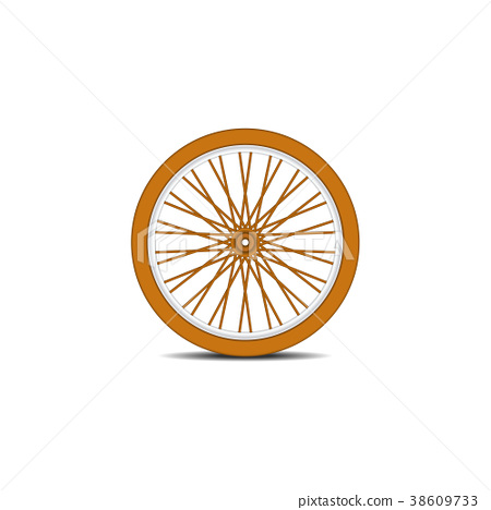 Wooden bicycle wheel with shadow  38609733