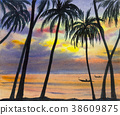 Watercolor landscape painting colorful of sea. 38609875