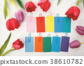 Multcolored labels with tulips 38610782