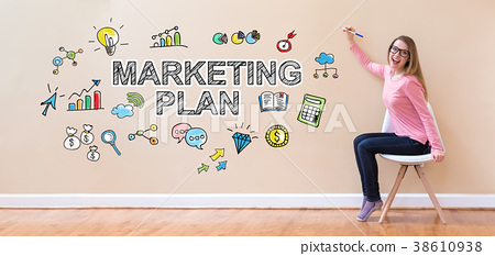Marketing Plan with young woman holding a pen 38610938