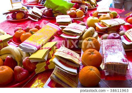 紙錢,水果, 祭祀品,紙幣、果物、犠牲製品,Paper money, fruits 38611963
