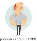 Cartoon character funny. Serious man. 38611994
