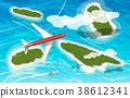 Airplane flies above few tropical islands 38612341