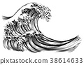 Great Wave Japanese Style Engraving 38614633