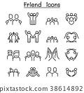 Friendship & Friend icon set in thin line style 38614892