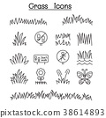 Grass icon set in thin line style 38614893