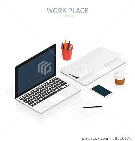 isometric work place laptop vector - Stock Illustration