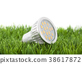 Led light bulb on green grass  38617872