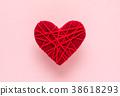 빨간색 하트 연애 실 38618293