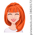 Facial expression of a redhead woman - laughing 38620172