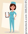 Doctor, medical worker in blue uniform 38620195