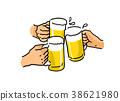 맥주, 건배, 맥주잔 38621980