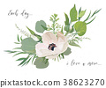 Vector Floral card design with bouquet of flowers 38623270
