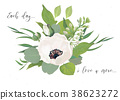Vector Floral card design with bouquet of flowers 38623272