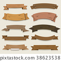 Cartoon Wooden Ribbons And Banners 38623538