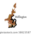 Detailed flat map of Wellington, New Zealand 38623587