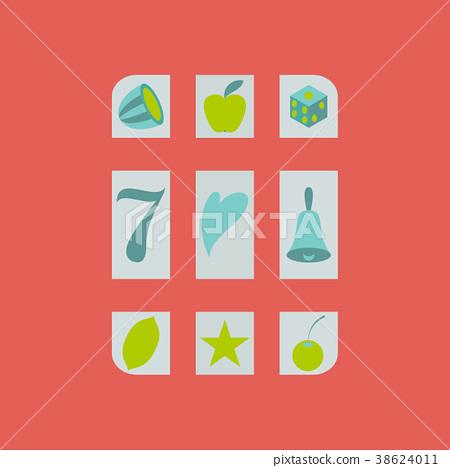 Slot machine icon isolated on background. Flat 38624011