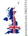 Union Jack, UK flag in outline of United Kingdom 38624741