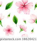 Seamless pattern of cherry flowers and leaves 38626421