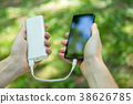 Image of man holding phone and powerbank 38626785