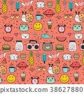 Pattern With Hand Drawn Doodle Lovely Background.  38627880